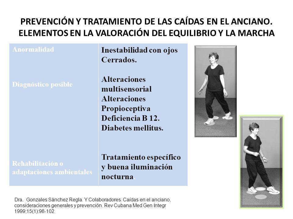 PREVENCIÓN Y TRATAMIENTO DE LAS CAÍDAS EN EL ANCIANO.