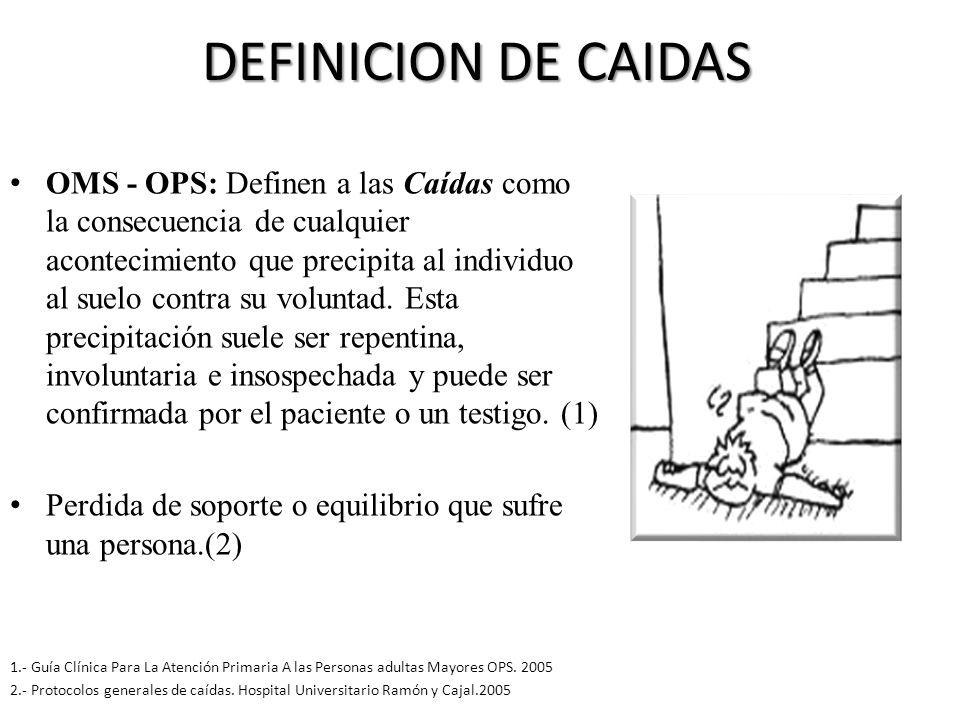 DEFINICION DE CAIDAS OMS - OPS: Definen a las Caídas como la consecuencia de cualquier acontecimiento que precipita al individuo al suelo contra su voluntad.
