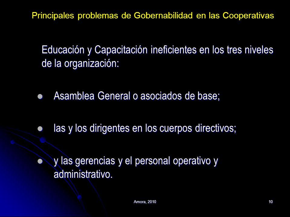 Amora, 201010 Educación y Capacitación ineficientes en los tres niveles de la organización: Asamblea General o asociados de base; Asamblea General o a