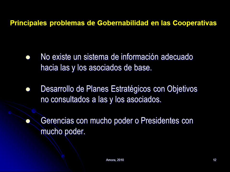 Amora, 201012 No existe un sistema de información adecuado hacia las y los asociados de base. No existe un sistema de información adecuado hacia las y