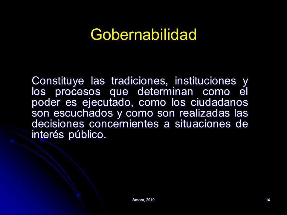 Amora, 201014 Gobernabilidad Constituye las tradiciones, instituciones y los procesos que determinan como el poder es ejecutado, como los ciudadanos s