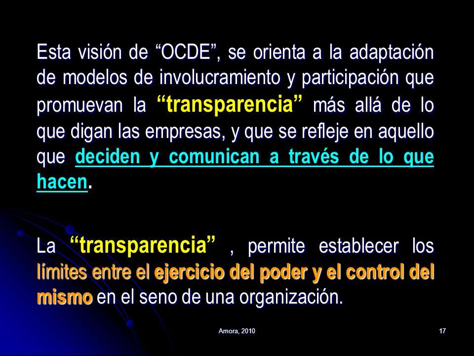 Amora, 201017 Esta visión de OCDE, se orienta a la adaptación de modelos de involucramiento y participación que promuevan la más allá de lo que digan