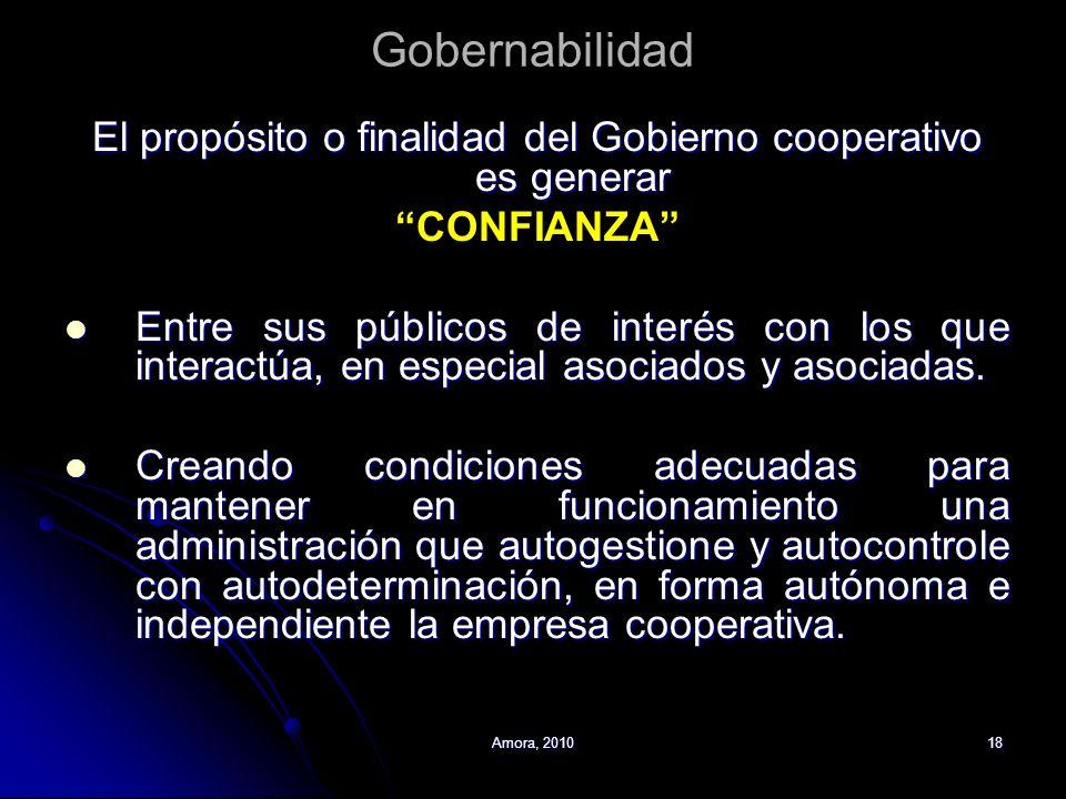 Amora, 201018 Gobernabilidad El propósito o finalidad del Gobierno cooperativo es generar CONFIANZA Entre sus públicos de interés con los que interact