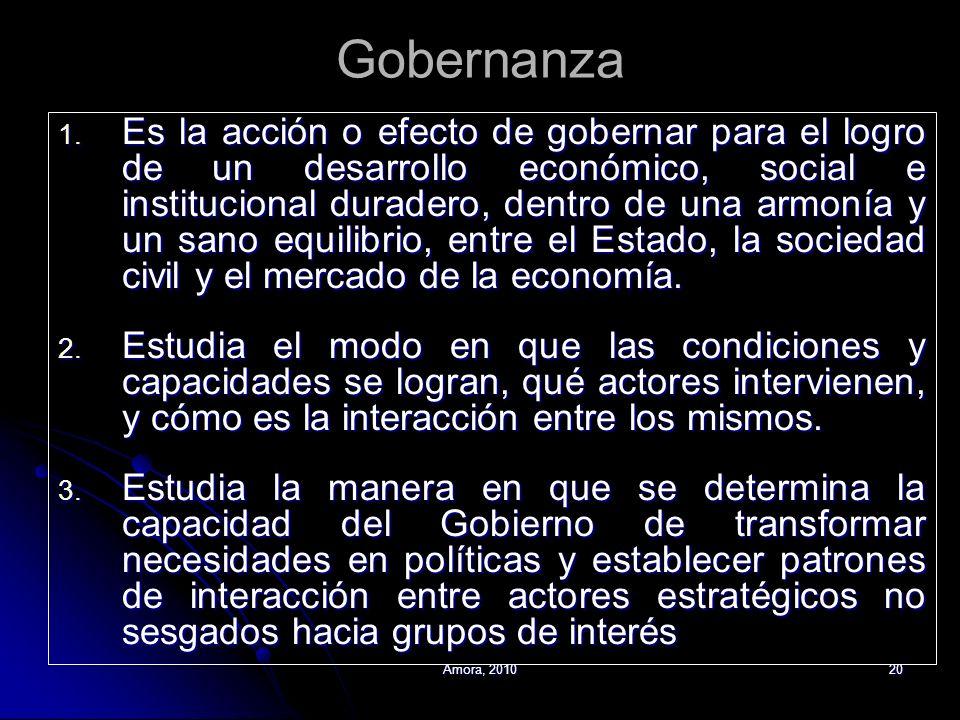 Amora, 201020 Gobernanza 1. Es la acción o efecto de gobernar para el logro de un desarrollo económico, social e institucional duradero, dentro de una