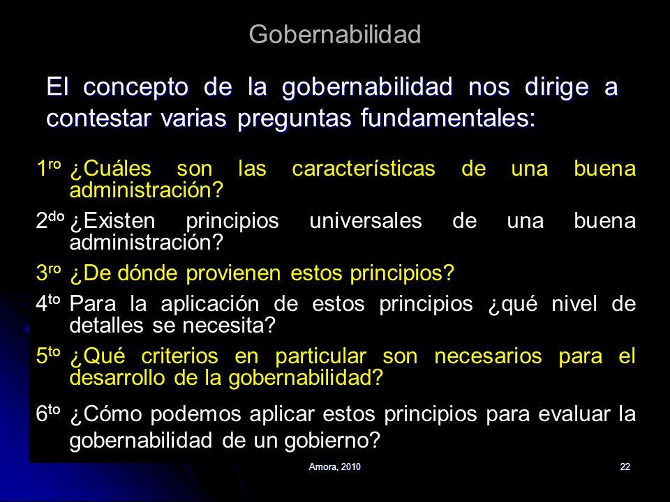 Amora, 201022 Gobernabilidad El concepto de la gobernabilidad nos dirige a contestar varias preguntas fundamentales: 1 ro ¿Cuáles son las característi