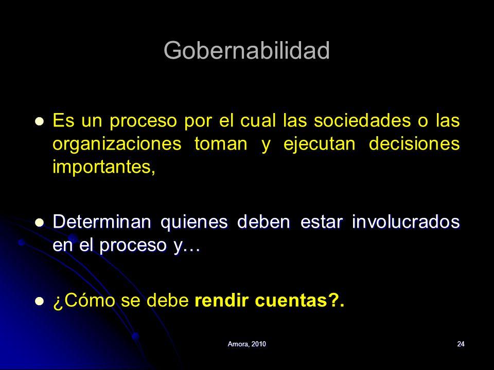 Amora, 201024 Gobernabilidad Es un proceso por el cual las sociedades o las organizaciones toman y ejecutan decisiones importantes, Determinan quienes