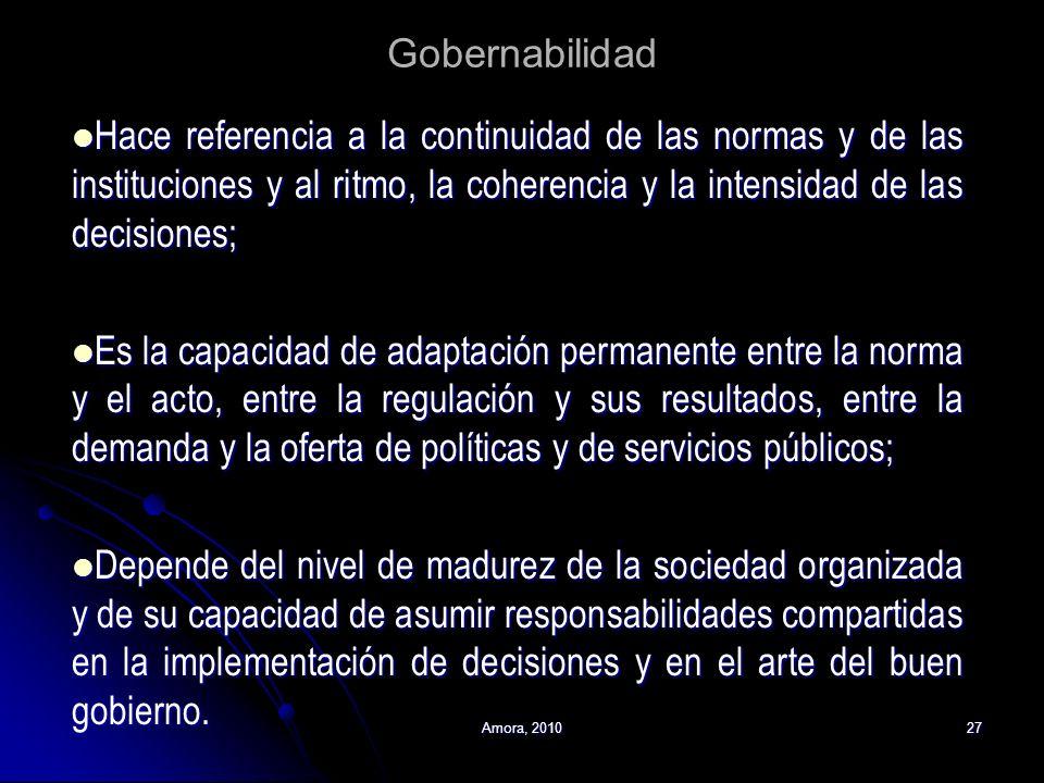 Amora, 201027 Gobernabilidad Hace referencia a la continuidad de las normas y de las instituciones y al ritmo, la coherencia y la intensidad de las de