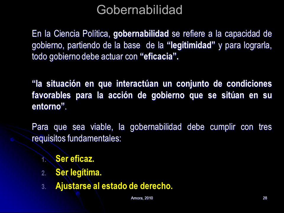 Amora, 201028 Gobernabilidad En la Ciencia Política, gobernabilidad se refiere a la capacidad de gobierno, partiendo de la base de la legitimidad y pa
