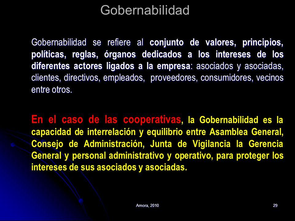 Amora, 201029 Gobernabilidad Gobernabilidad se refiere al conjunto de valores, principios, políticas, reglas, órganos dedicados a los intereses de los