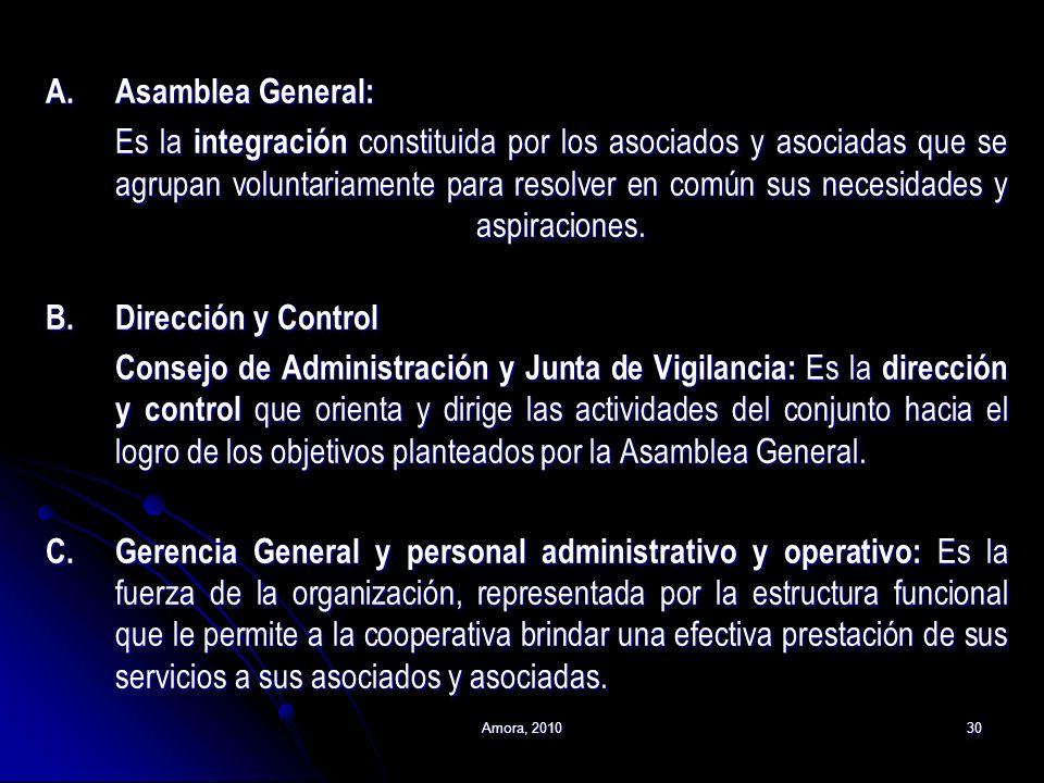 Amora, 201030 A.Asamblea General: Es la integración constituida por los asociados y asociadas que se agrupan voluntariamente para resolver en común su