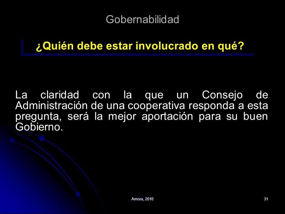 Amora, 201031 Gobernabilidad La claridad con la que un Consejo de Administración de una cooperativa responda a esta pregunta, será la mejor aportación