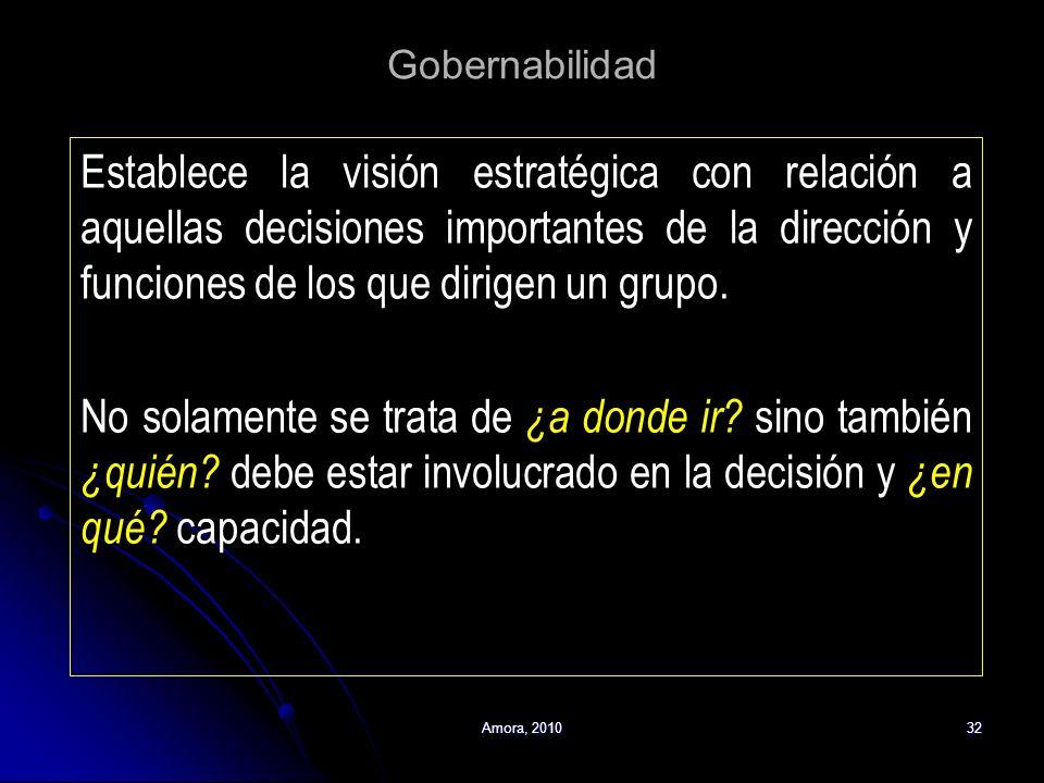 Amora, 201032 Gobernabilidad Establece la visión estratégica con relación a aquellas decisiones importantes de la dirección y funciones de los que dir