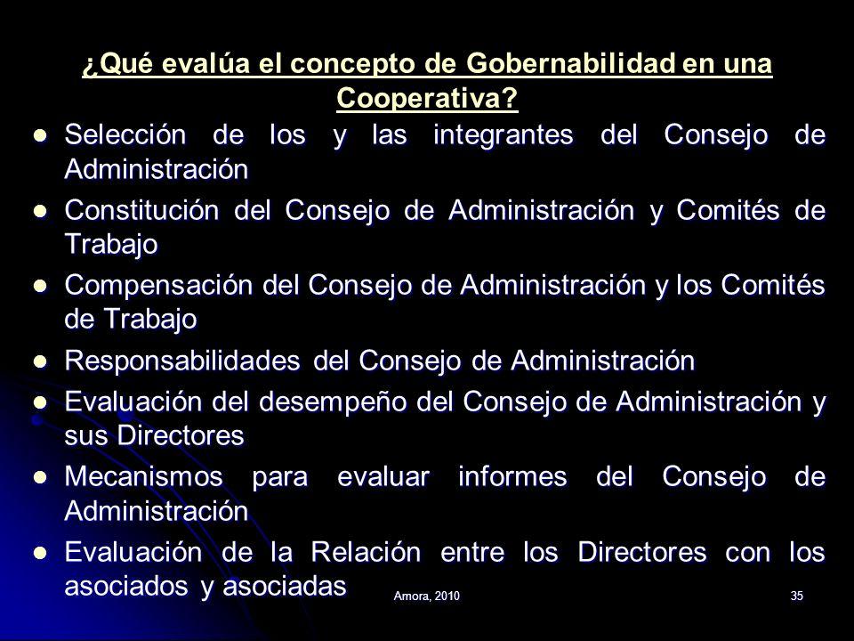 Amora, 201035 ¿Qué evalúa el concepto de Gobernabilidad en una Cooperativa? Selección de los y las integrantes del Consejo de Administración Selección