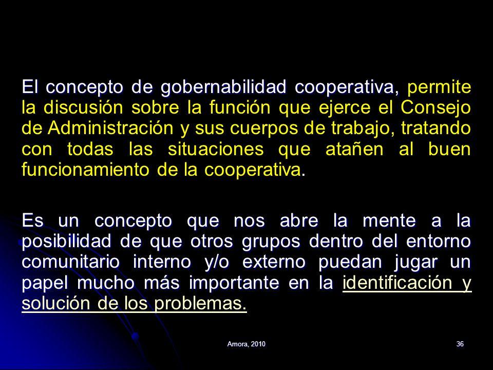 Amora, 201036 El concepto de gobernabilidad cooperativa, El concepto de gobernabilidad cooperativa, permite la discusión sobre la función que ejerce e