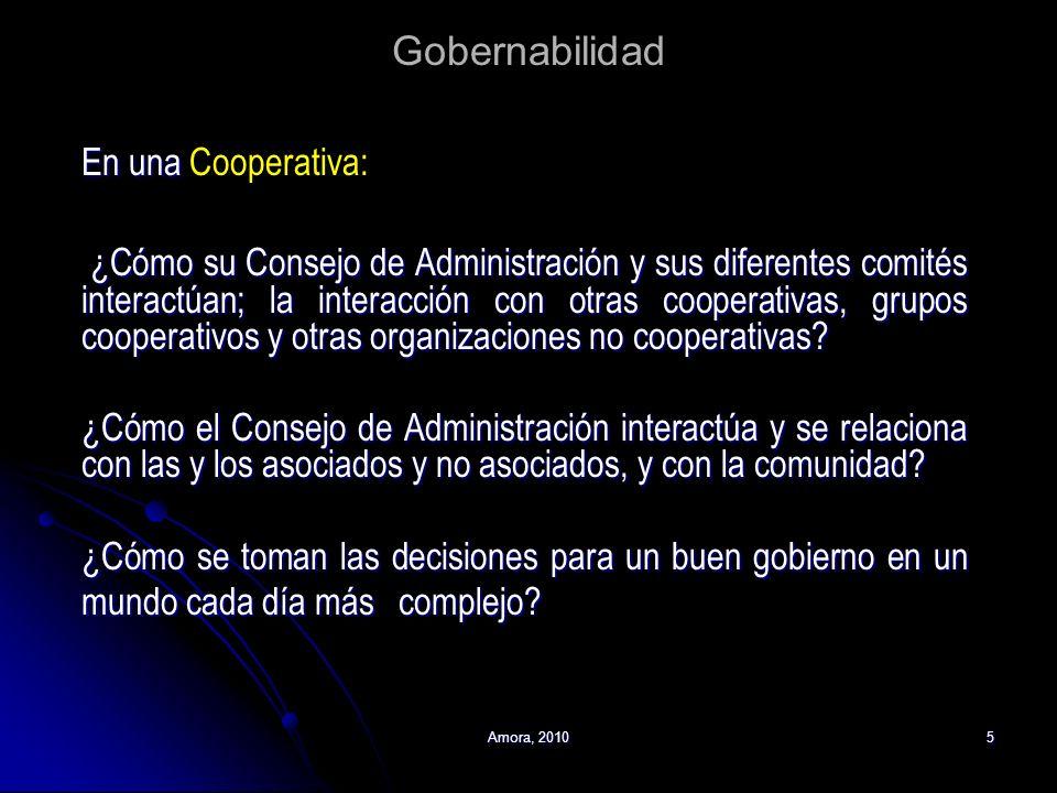 Amora, 20105 Gobernabilidad En una Cooperativa: ¿Cómo su Consejo de Administración y sus diferentes comités interactúan; la interacción con otras coop