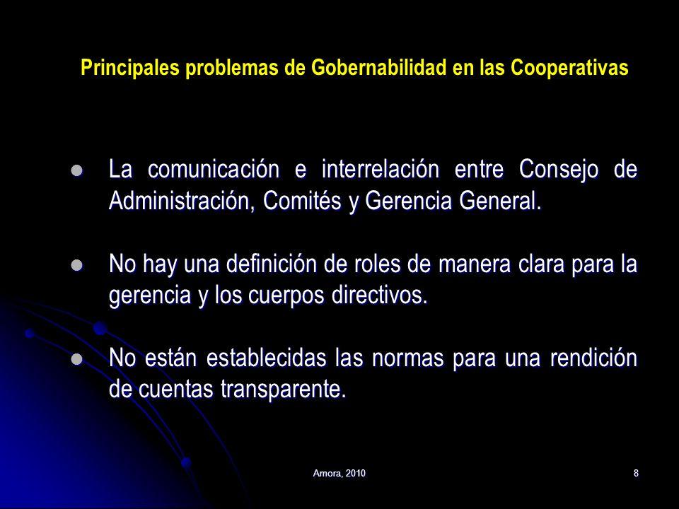 Amora, 20108 Principales problemas de Gobernabilidad en las Cooperativas La comunicación e interrelación entre Consejo de Administración, Comités y Ge