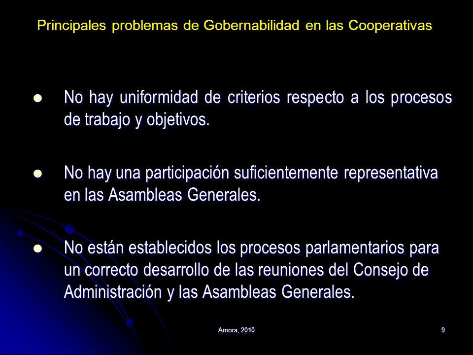 Amora, 20109 No hay uniformidad de criterios respecto a los procesos de trabajo y objetivos. No hay uniformidad de criterios respecto a los procesos d