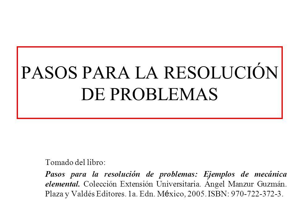 PASOS PARA LA RESOLUCIÓN DE PROBLEMAS Tomado del libro: Pasos para la resolución de problemas: Ejemplos de mecánica elemental. Colección Extensión Uni