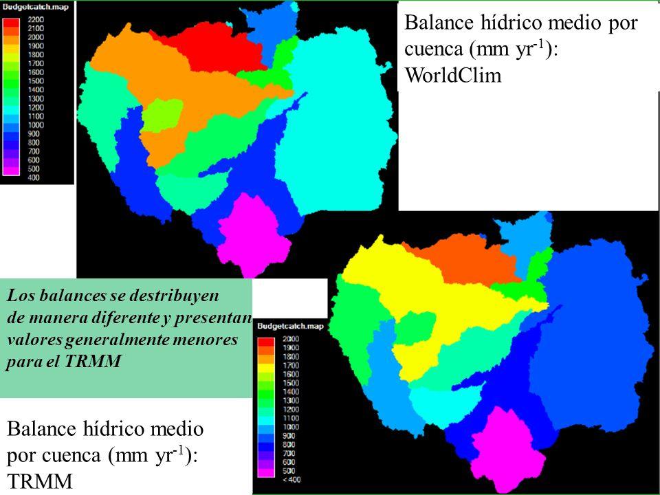 Balance hídrico medio por cuenca (mm yr -1 ): WorldClim Balance hídrico medio por cuenca (mm yr -1 ): TRMM Los balances se destribuyen de manera difer