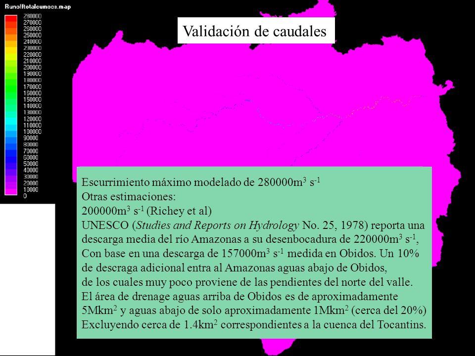 Validación de caudales Escurrimiento máximo modelado de 280000m 3 s -1 Otras estimaciones: 200000m 3 s -1 (Richey et al) UNESCO (Studies and Reports o