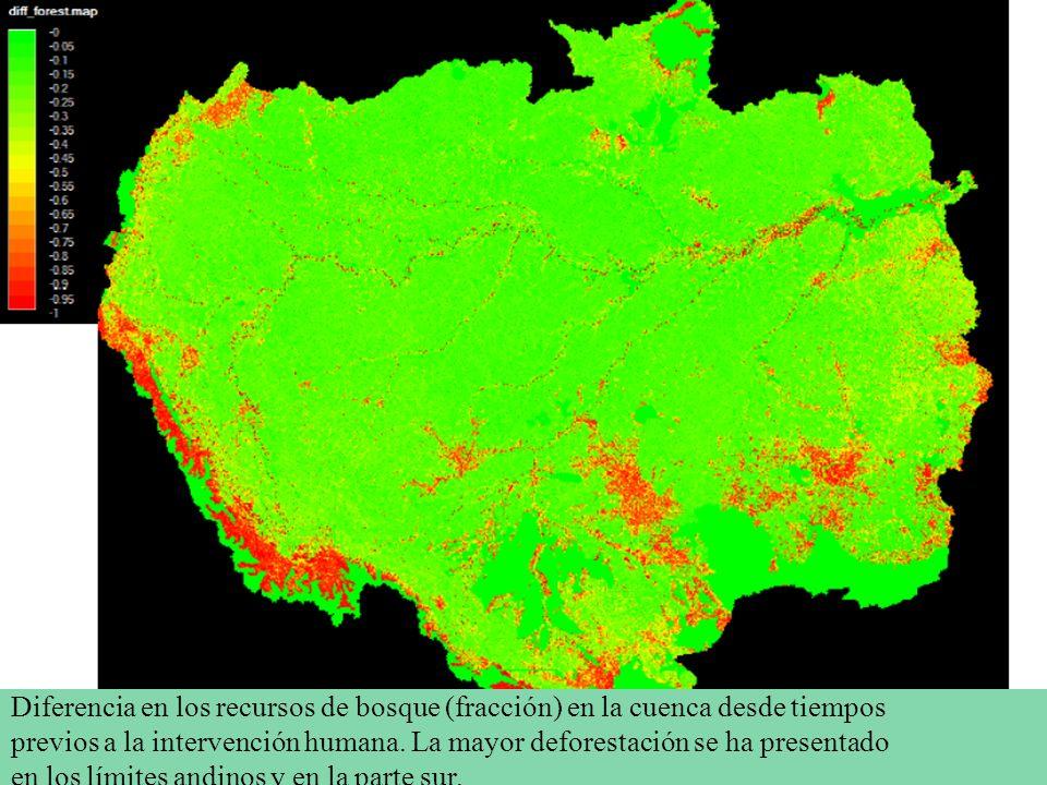 Diferencia en los recursos de bosque (fracción) en la cuenca desde tiempos previos a la intervención humana. La mayor deforestación se ha presentado e