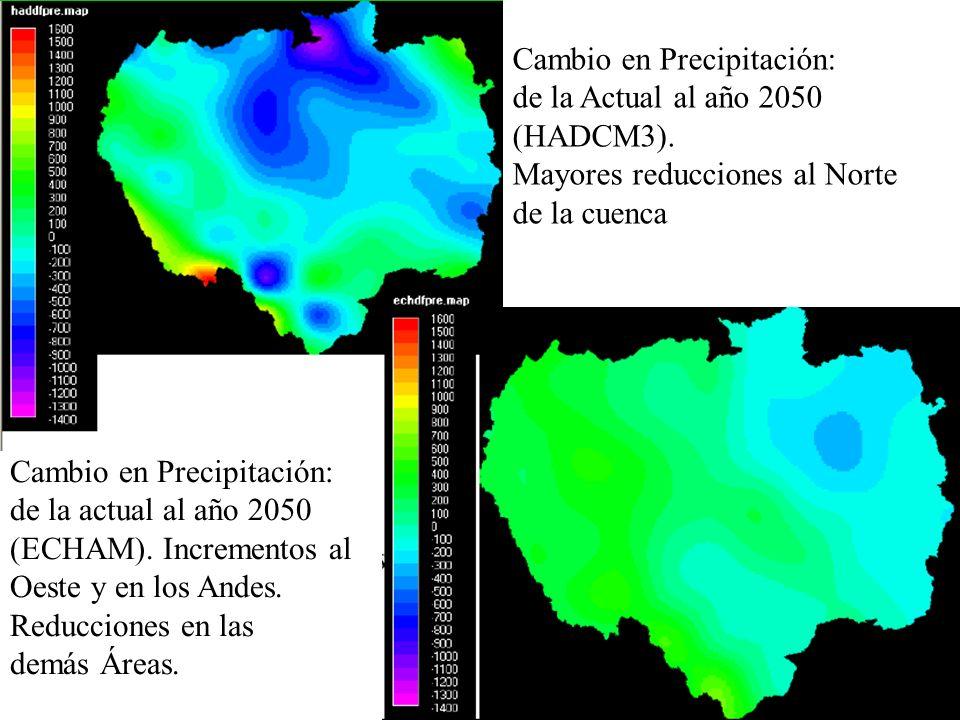Cambio en Precipitación: de la Actual al año 2050 (HADCM3). Mayores reducciones al Norte de la cuenca Cambio en Precipitación: de la actual al año 205