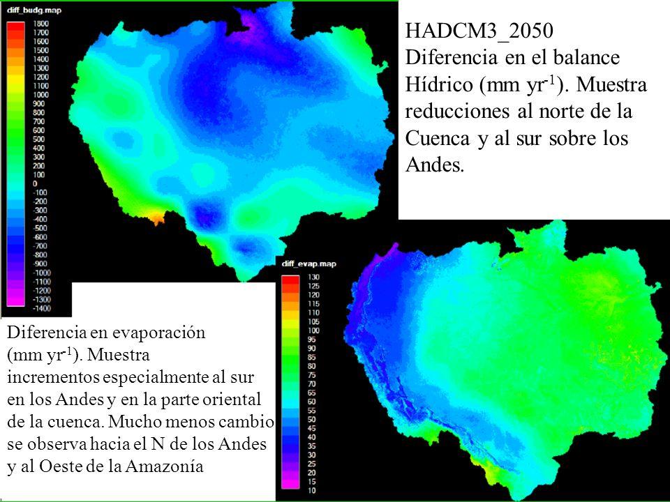 HADCM3_2050 Diferencia en el balance Hídrico (mm yr -1 ). Muestra reducciones al norte de la Cuenca y al sur sobre los Andes. Diferencia en evaporació