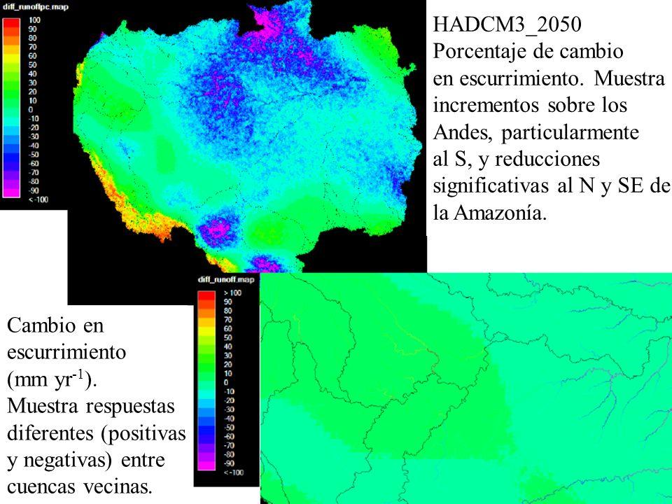HADCM3_2050 Porcentaje de cambio en escurrimiento. Muestra incrementos sobre los Andes, particularmente al S, y reducciones significativas al N y SE d