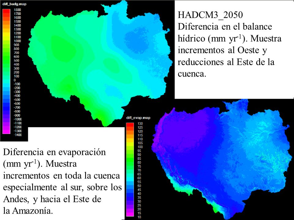 HADCM3_2050 Diferencia en el balance hídrico (mm yr -1 ). Muestra incrementos al Oeste y reducciones al Este de la cuenca. Diferencia en evaporación (