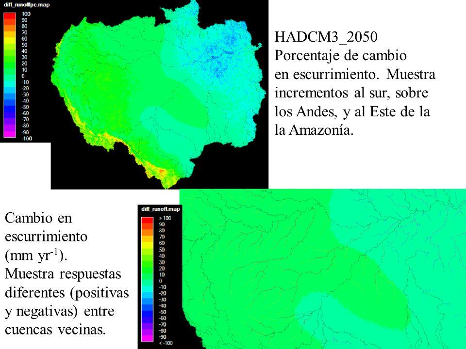 HADCM3_2050 Porcentaje de cambio en escurrimiento. Muestra incrementos al sur, sobre los Andes, y al Este de la la Amazonía. Cambio en escurrimiento (