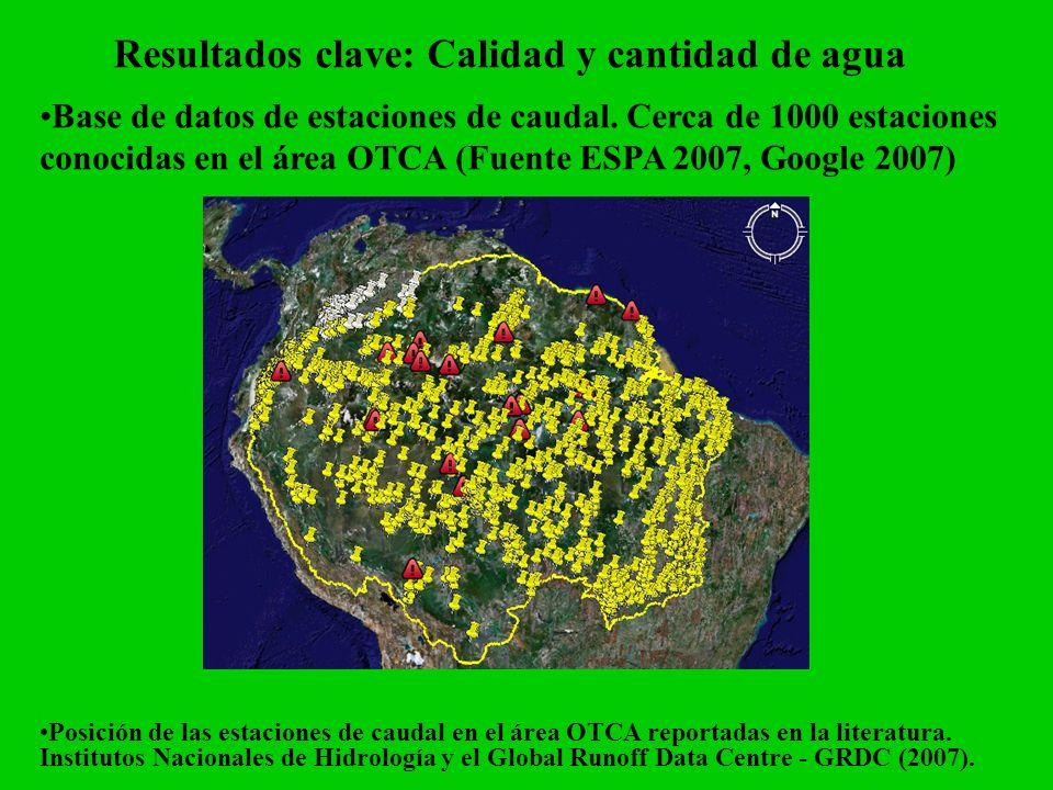 Resultados clave: Calidad y cantidad de agua Base de datos de estaciones de caudal. Cerca de 1000 estaciones conocidas en el área OTCA (Fuente ESPA 20