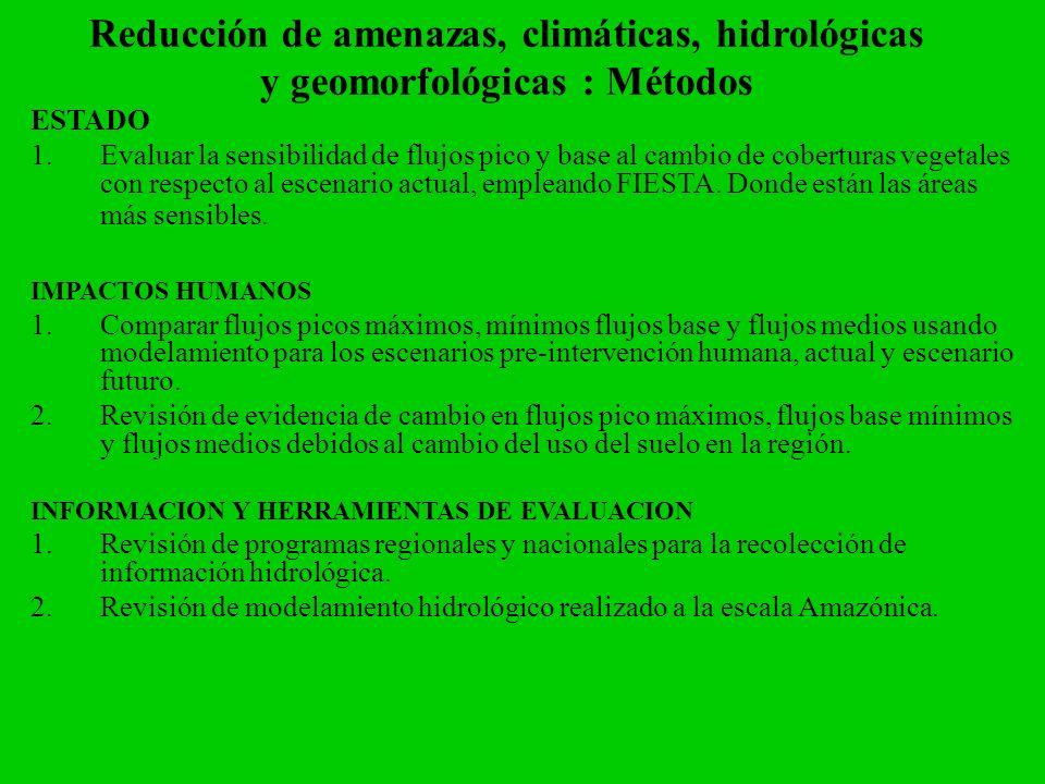 Reducción de amenazas, climáticas, hidrológicas y geomorfológicas : Métodos ESTADO 1.Evaluar la sensibilidad de flujos pico y base al cambio de cobert