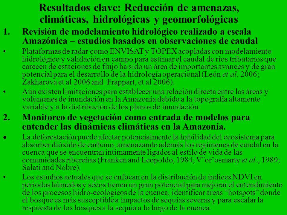 Resultados clave: Reducción de amenazas, climáticas, hidrológicas y geomorfológicas 1.Revisión de modelamiento hidrológico realizado a escala Amazónic