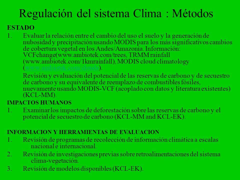 Regulación del sistema Clima : Métodos ESTADO 1.Evaluar la relación entre el cambio del uso el suelo y la generación de nubosidad y precipitación usan