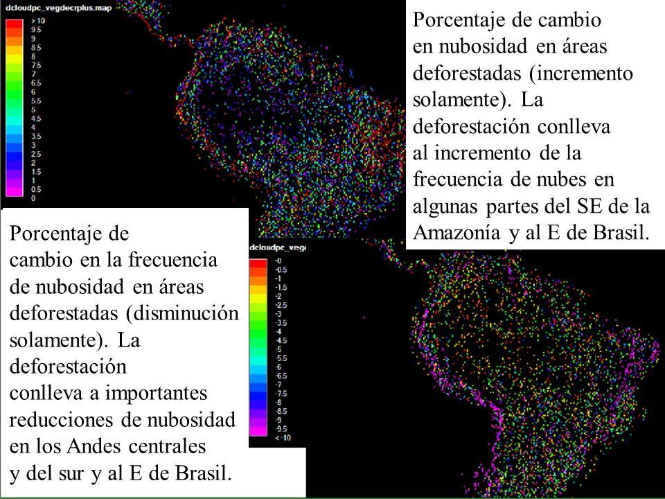 Porcentaje de cambio en nubosidad en áreas deforestadas (incremento solamente). La deforestación conlleva al incremento de la frecuencia de nubes en a