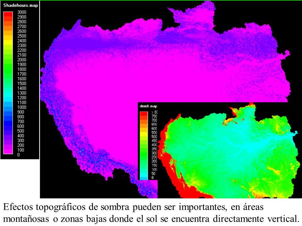 Efectos topográficos de sombra pueden ser importantes, en áreas montañosas o zonas bajas donde el sol se encuentra directamente vertical.
