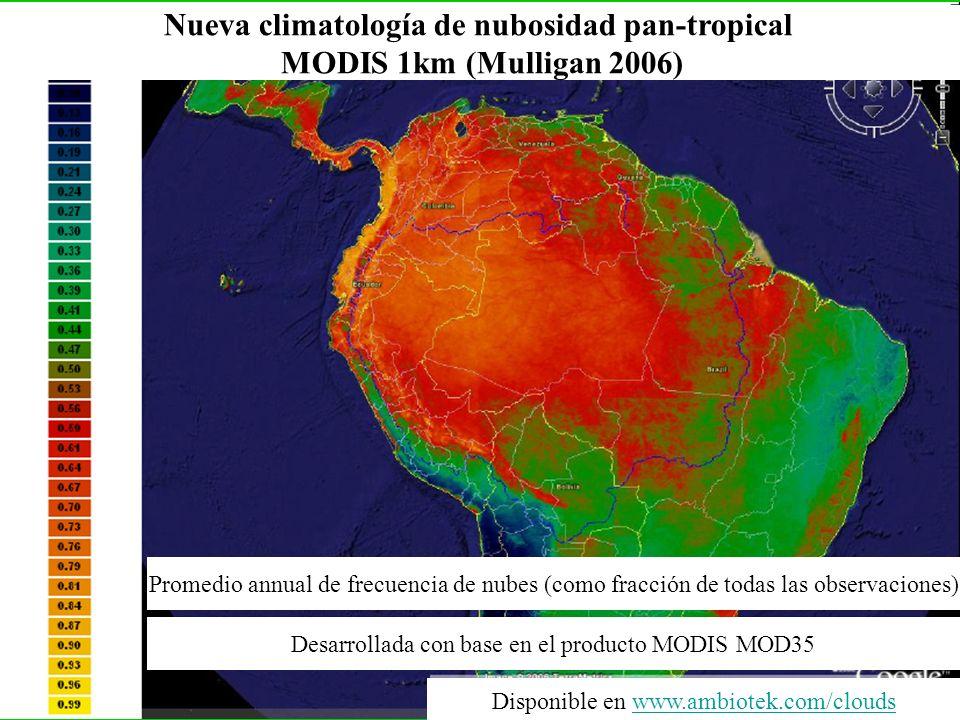 Nueva climatología de nubosidad pan-tropical MODIS 1km (Mulligan 2006) Promedio annual de frecuencia de nubes (como fracción de todas las observacione