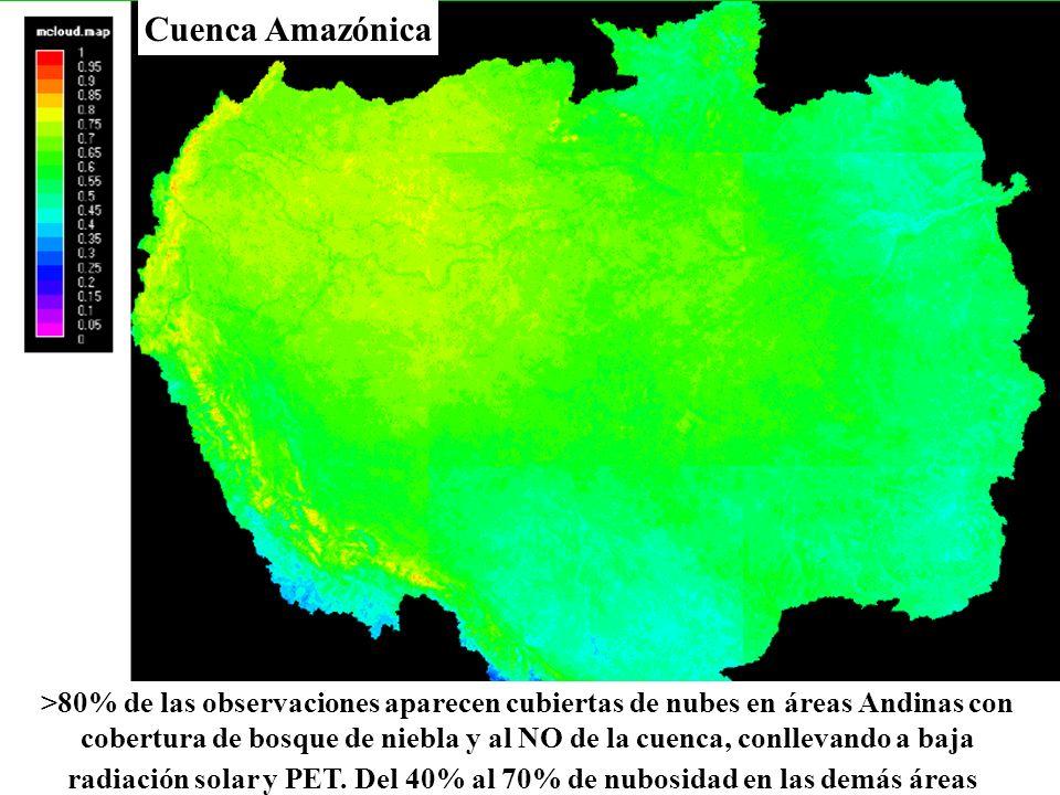 Cuenca Amazónica >80% de las observaciones aparecen cubiertas de nubes en áreas Andinas con cobertura de bosque de niebla y al NO de la cuenca, conlle