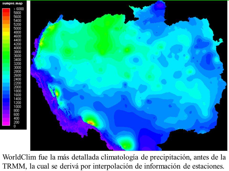 WorldClim fue la más detallada climatología de precipitación, antes de la TRMM, la cual se derivá por interpolación de información de estaciones.