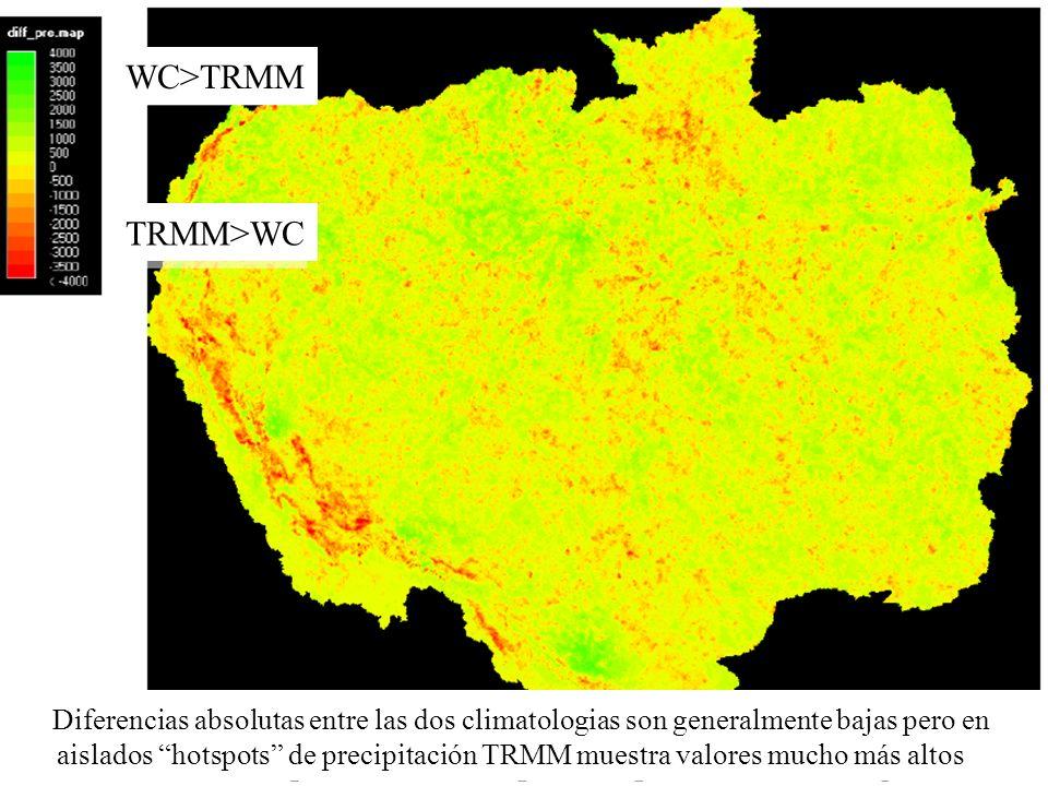 WC>TRMM Diferencias absolutas entre las dos climatologias son generalmente bajas pero en aislados hotspots de precipitación TRMM muestra valores mucho