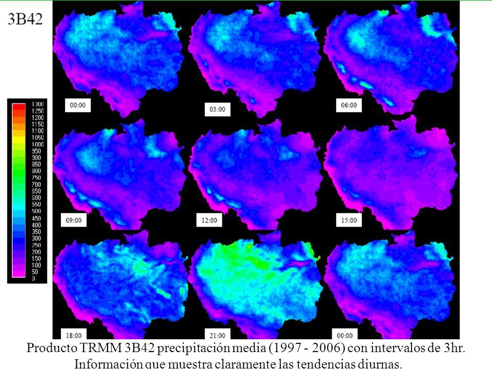 Producto TRMM 3B42 precipitación media (1997 - 2006) con intervalos de 3hr. Información que muestra claramente las tendencias diurnas.