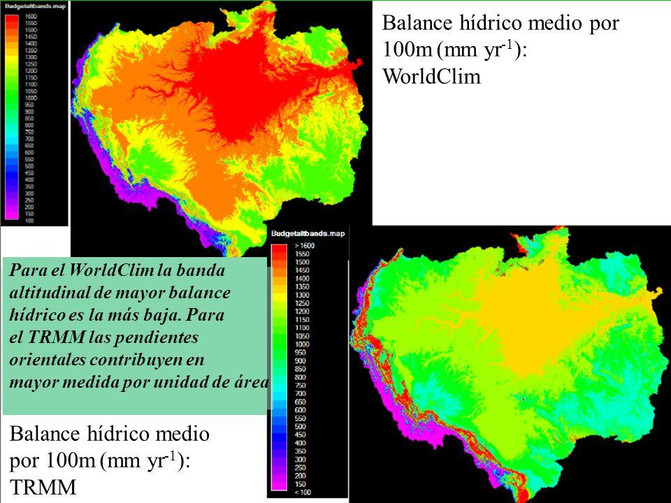 Balance hídrico medio por 100m (mm yr -1 ): WorldClim Balance hídrico medio por 100m (mm yr -1 ): TRMM Para el WorldClim la banda altitudinal de mayor