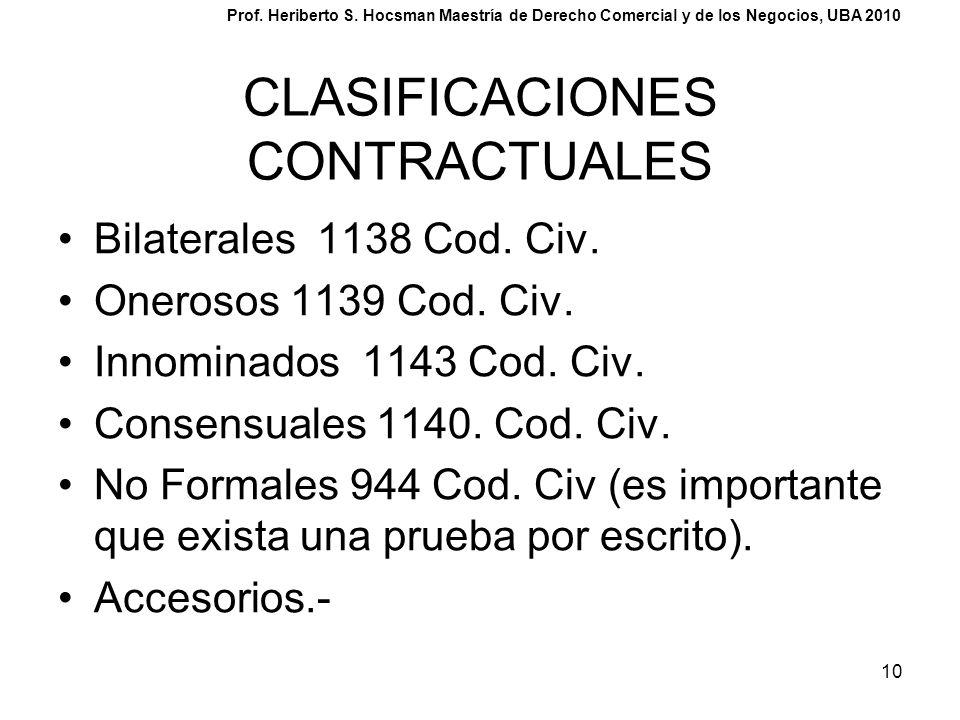 10 CLASIFICACIONES CONTRACTUALES Bilaterales 1138 Cod. Civ. Onerosos 1139 Cod. Civ. Innominados 1143 Cod. Civ. Consensuales 1140. Cod. Civ. No Formale
