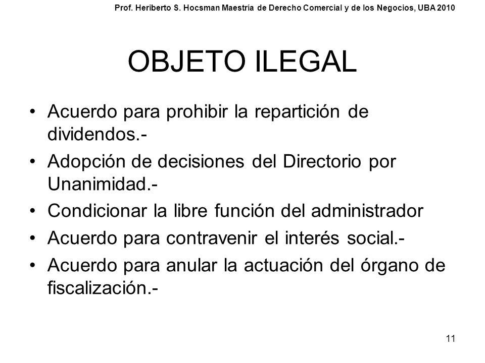 11 OBJETO ILEGAL Acuerdo para prohibir la repartición de dividendos.- Adopción de decisiones del Directorio por Unanimidad.- Condicionar la libre func