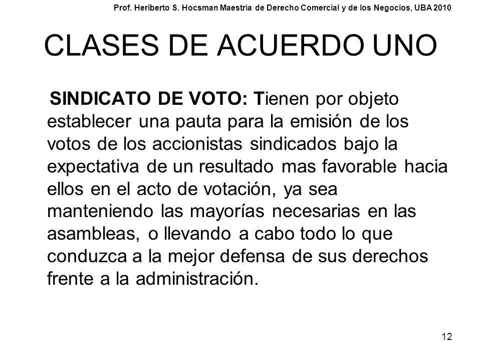 12 CLASES DE ACUERDO UNO SINDICATO DE VOTO: Tienen por objeto establecer una pauta para la emisión de los votos de los accionistas sindicados bajo la