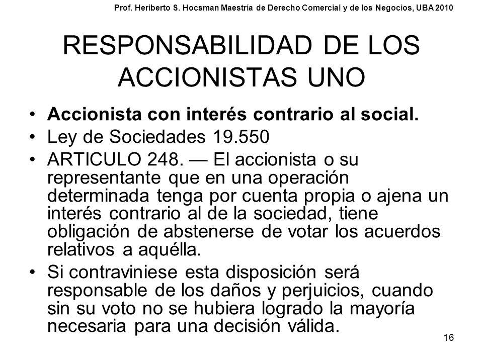 16 RESPONSABILIDAD DE LOS ACCIONISTAS UNO Accionista con interés contrario al social. Ley de Sociedades 19.550 ARTICULO 248. El accionista o su repres