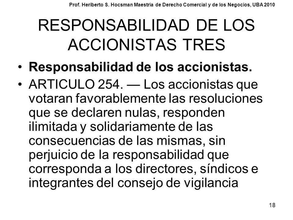18 RESPONSABILIDAD DE LOS ACCIONISTAS TRES Responsabilidad de los accionistas. ARTICULO 254. Los accionistas que votaran favorablemente las resolucion
