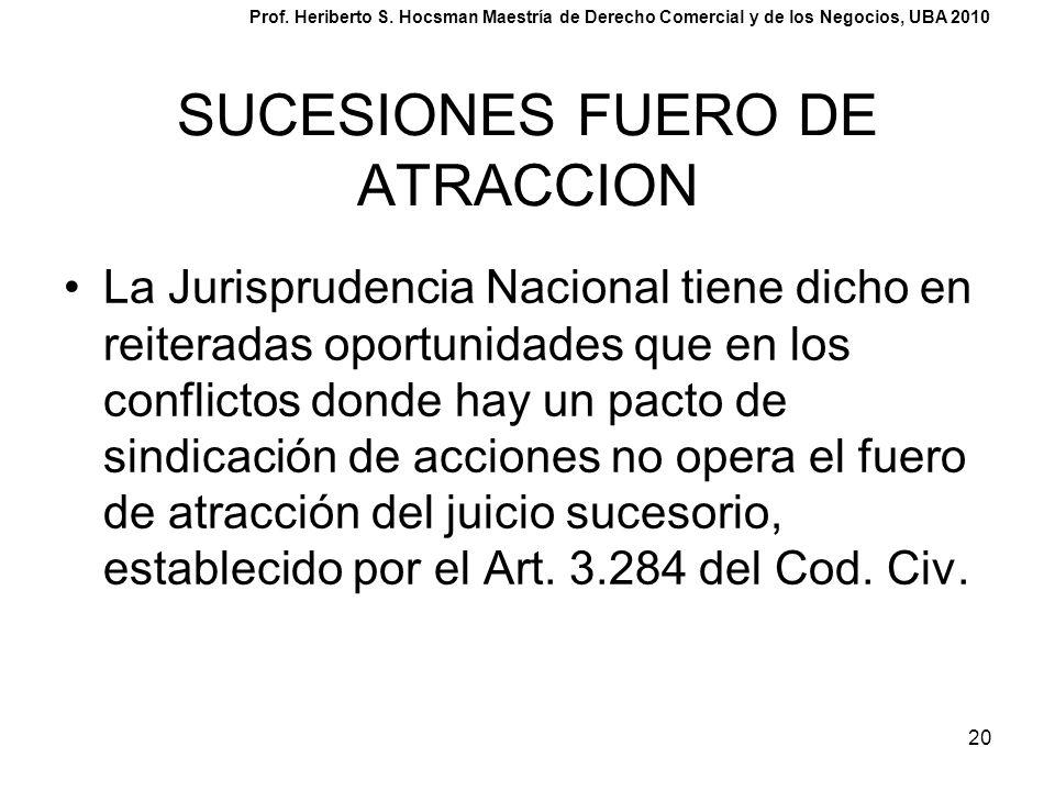 20 SUCESIONES FUERO DE ATRACCION La Jurisprudencia Nacional tiene dicho en reiteradas oportunidades que en los conflictos donde hay un pacto de sindic