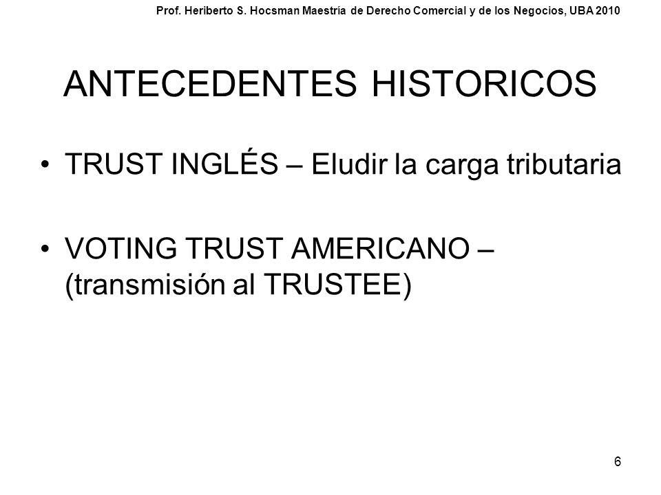 6 ANTECEDENTES HISTORICOS TRUST INGLÉS – Eludir la carga tributaria VOTING TRUST AMERICANO – (transmisión al TRUSTEE) Prof. Heriberto S. Hocsman Maest
