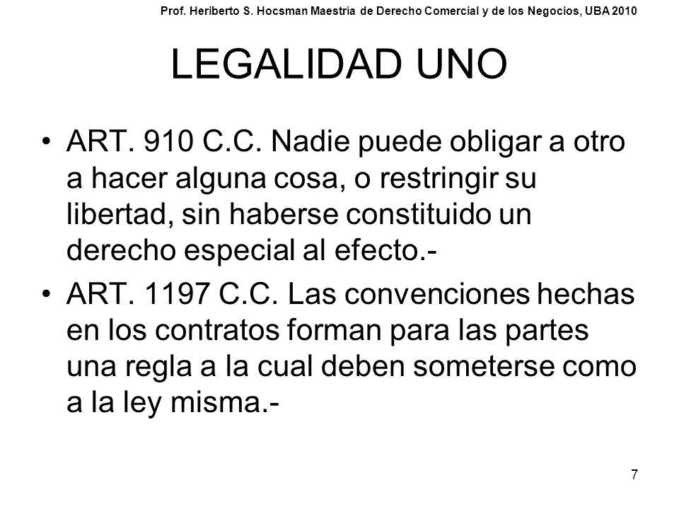 7 LEGALIDAD UNO ART. 910 C.C. Nadie puede obligar a otro a hacer alguna cosa, o restringir su libertad, sin haberse constituido un derecho especial al